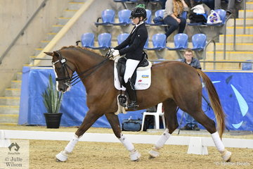 Mary Warren riding her homebred Mindarah Park Ramirus by Mindarah Park Ramadan took second place in the Kohnke's Own 7 year old Young Horse Championship Round 3,.