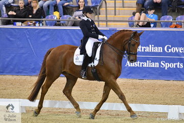 Abbie O'Brien from Victoria was thrilled to take second place riding Tammy O'Brien's, Rajah's Rave  in the SAP Intermediate Freestyle CDI 3*, scoring 72.86.