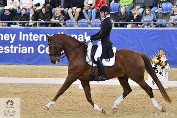 Riley Alexander rode Julie Farrell's, MI Sirtainly Sir to win the SAP Intermediate Freestyle CDI 3* with a score of 73.95.