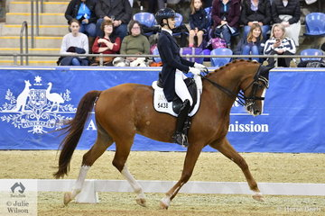 Sally Rizzuto rode Vicki Newham's, Diamond Star to finish in fourth place with a score of 70.76% in the SAP Intermediate Freestyle CDI3*.