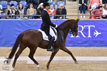 David McKinnon riding Mark Dowling's, Woodside Lady Loxley produced an entertaining freestyle for sixth place in the SAP Intermediate Freestyle CDI 3*.