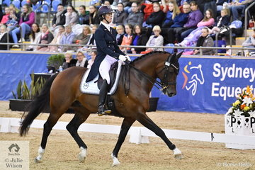 Alycia Targa and her CP Dresden were in perfect sync to their music thought-out their Equestrian NSW Grand Prix Freestyle CDI 3* test. The popular pair finished in third place with a score of 71.86.