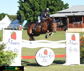 Flying over the Strawberry Hill Stud fence in the main arena during the Bronze Tour Final was Killy Billy Castanoo with Tim Amitrano.