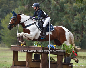 "Lucy Peters placed 5th in the Grade 2 riding ""Smart Cookie"" representing Leighdale Pony Club with a final score of 36.90"
