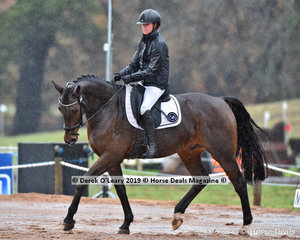"""Isabelle Cowley rode """"Fidel VEH"""" in the EvA80 Section C, in certainly the wetter part of the day"""