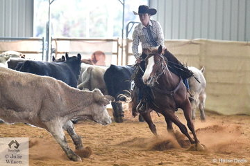 Lara McEachern and Tapt Again took second place in the Amateur Junior Ranch Cutting class, on day two of the Australian Ranch Horse Remuda Show.