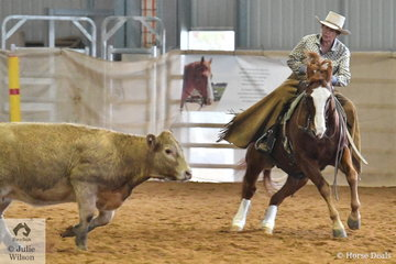 Colleen Fleming rode Tassamingo to third place in the Amateur Senior Horse Ranch Cutting.
