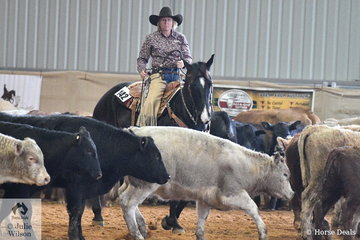 Dawn Woodley and Coliban Black Texan cut out their cow on their way to second place in the Amateur Senior Horse Ranch Cutting. Unlike standard cutting in Ranch Horse Cutting the competitor only cuts out one cow and it does not have to be a deep cut.