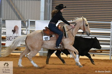 Stephanie Lancefield rode Tronas Twinkle (Imp) to win the Youth Ranch Cutting. Unlike standard cutting once the cow has been cut out and worked then extra points can be gained working the cow on the way to the pen.