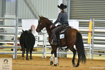 The final part of the Ranch Cutting is to place your cut out cow in a pen at the other end of the arena. Amy Gear riding Alenas Smart Cat prepares her beast to enter the pen, on their way to second place in the Youth Ranch Cutting.