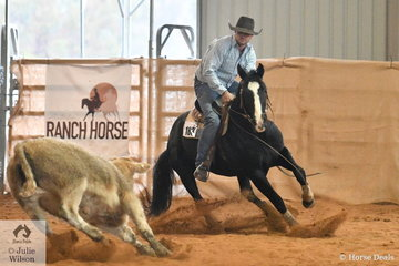 Bruno Robertson rode An Acre Named Sue to win the Novice Ranch Cutting.