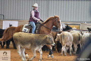 Judy Carrucan rode Hearts Unlimited to win the Freshmans Ranch Cutting.
