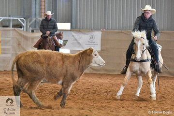 David Leek rode Magnum Pl to equal fifth place in the large class for Novice Ranch Cutting.