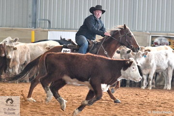 Rocky Acquisto and Rastus place second in the Freshman's Ranch Cutting.
