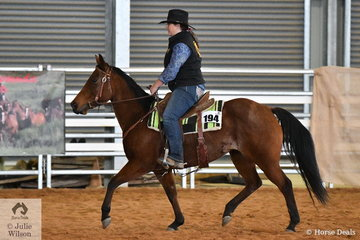 Kerri Acquisto rode Pinky to third place in the Freshmans Ranch Cutting.