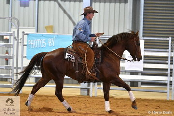 Aaron Scobie riding Amaroo Unique Rock placed second in the Senior  Horse Ranch Boxing class.
