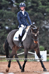 """Maddy Kitto in the CCI2*-SA Dressage phase riding """"My Friend Jack"""""""