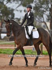"Mia Wright in the CCN1*-SB.Dressage phase riding ""Range View Toranos"""