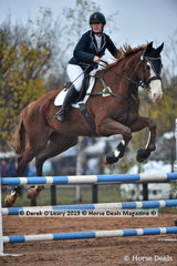 """Winner of the EvA 95 Section A Combined training Maureen McGrath riding """"Yarramee Bam Bam"""" with a final score of 25.00"""