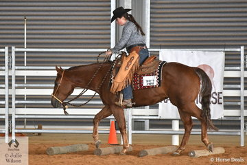 Bonnie Grosso rode SVQ Good Charlotte to fourth place in the Youth Ranch Riding class on day three at the Australian Ranch Horse Remuda Show. With many shows seeing declining attendance numbers this show sees the opposite. At the first Remuda show last year there were 50 horses and this year there are 104, competing in a number of classes over four days.