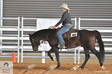 Jane Forke rode Wilga Park Astroboy in the strong class for Amateur Range Riding. As with most of the Ranch Horse events, the judge awards positive or negative marks from a 0 score for each of the movements within the pattern.