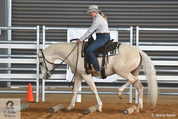 Jessica Soulsby completes a good Ranch Riding pattern aboard Attards Romance for third place in the Amateur class.
