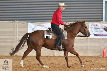 Kevin Patrick rode Onya Shiney Nu Toy to take second place in the Amateur Ranch Riding.