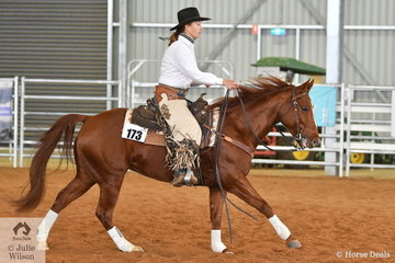 Jessica Young rode Sashas Smokin Lena to third place in the Open Senior Horse Ranch Reining.