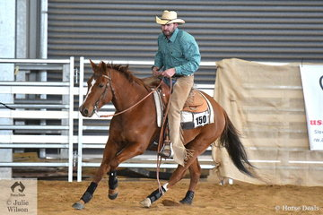 Mitch Dunnachie rode Whizzy to second place in the Open Senior Horse Ranch Reining.