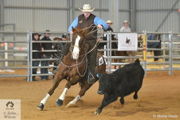 Quentin Stapleton rode Smooth Serenade to second place in the Open Senior Cow Horse class.