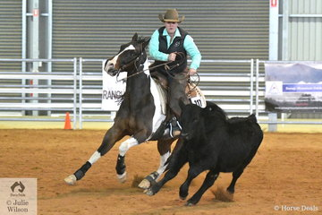 Stephanie Lancefield rode Tronas Twinkle (Imp) to third place in the Open Senior Cow Horse class.
