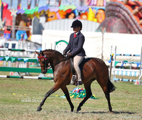 "Class winner in the pony ring ""KT Miss Molly"", ridden by Melanie Skinner."