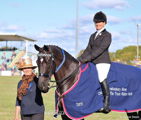 """Joan Pracey judged the Off the Track Ridden Thoroughbred class, pictured with the winner """"Black Pearl"""" ridden by LeeAnn Olsen."""