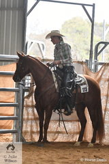 """Where possible in Ranch Horse Trail classes a normal sort of """"ranch style"""" gate is desirable. Jesica Young and Sasas Smokin Lena made easy work of moving through this gate in the Open Senior Horse Ranch Trail."""