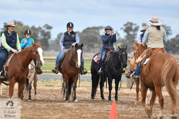 One of the things that makes Ranch Horse popular is the friendly, supportive atmosphere. It is aimed as a family sport with cheap membership and a zero tolerance to horse abuse. Here a rider is congratulated by her fellow competitors for completing the Freshmans Ranch Trail.