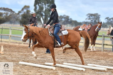 If the aim is to not touch the poles in the Ranch Horse Trail, Rose Galluzo's Wonako certainly is trying his hardest to do the right thing.