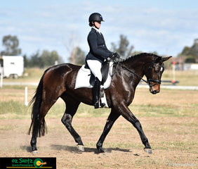 Hazel Shannon's mare Gretta showing off her movement in the dressage phase of the EvA95A class at the Tamworth International One Day Event.