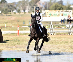 Galloping through the EvA80 water complex is Elsa Ribal-Vigneau with Kenya at the Tamworth International One Day Event held at AELEC..