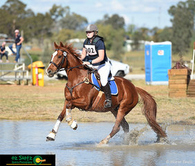 With their uphill ground covering canter, Macey Howlett and Havana Kid look the part in the cross country phase of the EvA60 at the Tamworth International One Day Event.