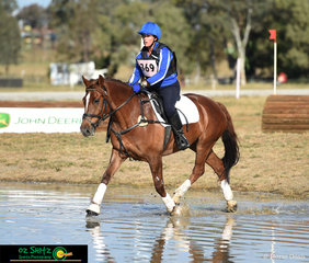 Even in the AELEC water complex, Yarramalong Kit looked impressive tracking up in the EvA60 cross country phase for rider, Jodie Toft.