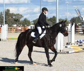 Getting ready to commence the show jumping phase in the EvA45 was Kate Burgess and Special Attraction.
