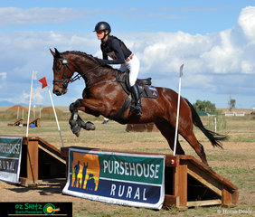 Oz Shotz Sponsored rider and Olympian, Rebel Morrow competed on Maximus Pride in the EvA80 Open class pictured here jumping the Pursehouse Rural Fence out on the AELEC cross country course.