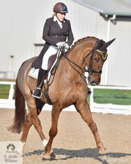 Grand Prix rider and successful horse breeder, Kerry Mack is pictured aboard her home bred, 'Mayfield Limelight' during the Prix St Georges competition.