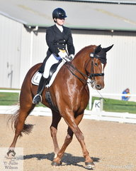 Karen Blythe rode, 'Lugano DK' to win the Prix St Georges test with  69.11%.