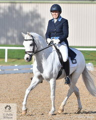 A great supporter of Pony dressage, Ann Smiley rode her home bred pony, 'Lynlea Flashdance' to take eighth place in the Prix St Georges test.