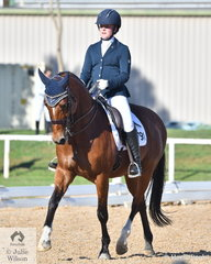 Amy Bachman rode her, 'Silverdene Pharoah' to third place in the Medium 4A with 66.8%.