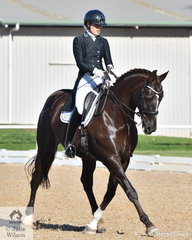 Show rider, model and dressage rider, Jacquueline Librio is pictured aboard her South Australian bred, 'Danson Destiny' during the Prix St Georges test.