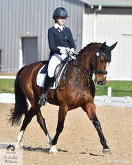 Sally Toulmin rode , 'Roxleigh Frangelica' to fifth place in the Prix St Georges test.