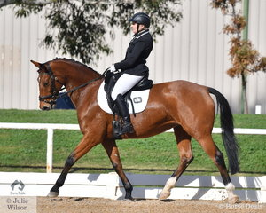 Susan Leslie rode, 'Hillbreeze Replica' to take fourth place in the Medium 4A with 66.38%.