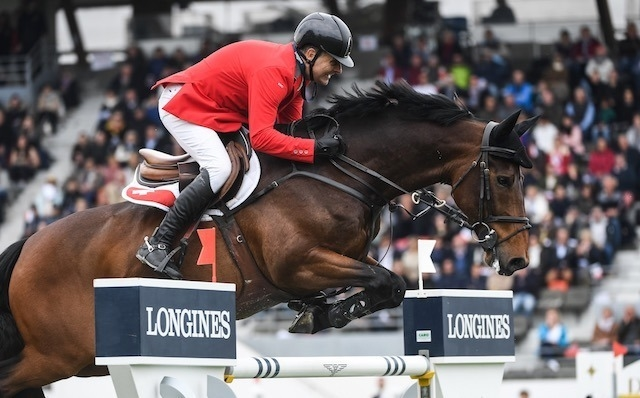 Niklaus Rutschi and Cardano CH produced a brilliant double-clear performance to help clinch victory for Switzerland in today's Longines FEI Jumping Nations Cup™ of France 2019 in La Baule (FRA). (FEI/Martin Dokoupil)